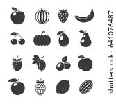 fruits black icons. different... | Shutterstock . vector #641076487