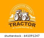 tractor logo illustration on... | Shutterstock . vector #641091247
