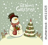 snowman with gifts beside... | Shutterstock .eps vector #64111525