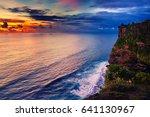 azure beach with rocky... | Shutterstock . vector #641130967