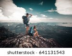hikers relax on top of a... | Shutterstock . vector #641131543