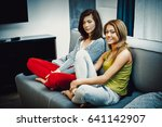 mother and doughter sitting in... | Shutterstock . vector #641142907