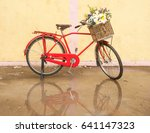 red classic bicycle with... | Shutterstock . vector #641147323
