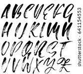 hand drawn dry brush font.... | Shutterstock .eps vector #641154553