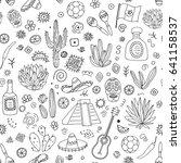 doodles seamless pattern of... | Shutterstock . vector #641158537