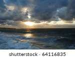 beautiful sunset on the black... | Shutterstock . vector #64116835