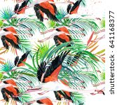 flamingo seamless pattern.... | Shutterstock . vector #641168377