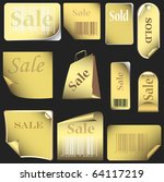 gold stickers and tags set with bar codes. set 05 isolated on black background. vector illustration - stock vector