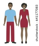 isolated african couple. | Shutterstock . vector #641177083