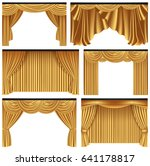 Set Of Gold Luxury Curtains An...