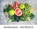 selection of green vegetables... | Shutterstock . vector #641181613