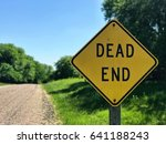 dead end sign on gravel road   Shutterstock . vector #641188243
