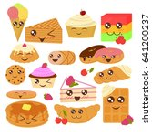 cute bakery goods vector... | Shutterstock .eps vector #641200237