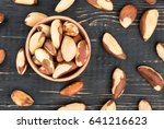 bowl filled with brazilian nuts ... | Shutterstock . vector #641216623