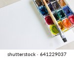 watercolors and white sheet of... | Shutterstock . vector #641229037