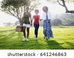 african american family walking ... | Shutterstock . vector #641246863