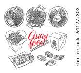 set of asian food. bibimbap ... | Shutterstock .eps vector #641275303