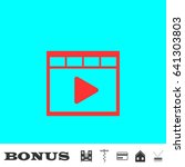video icon flat. red pictogram...