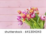 bouquet of pink tulips on a ... | Shutterstock . vector #641304343