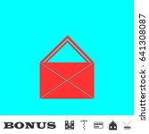 mail icon flat. red pictogram...