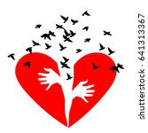 red heartbreak. birds fly out... | Shutterstock .eps vector #641313367