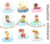 lovely little boys and girls... | Shutterstock .eps vector #641347963