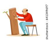 craftsman is carving a portrait ... | Shutterstock .eps vector #641349697