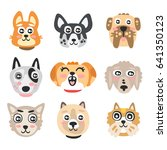 set of funny cartoon dogs heads.... | Shutterstock .eps vector #641350123