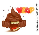 brown poop emoji cartoon... | Shutterstock .eps vector #641353957