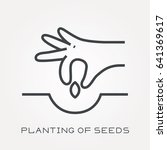 line icon planting of seeds | Shutterstock .eps vector #641369617