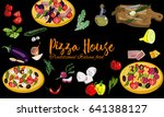 hand drawn italian pizza... | Shutterstock .eps vector #641388127