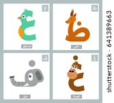 arabic alphabet colorful animal ... | Shutterstock .eps vector #641389663