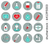 medicine flat icons set with... | Shutterstock .eps vector #641395003