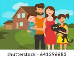 happy family. father  mother ... | Shutterstock .eps vector #641396683