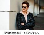 handsome young guy in aviator... | Shutterstock . vector #641401477