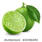 limes isolated with leaf on... | Shutterstock . vector #641406343