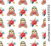 seamless pattern with cute baby ... | Shutterstock .eps vector #641435533