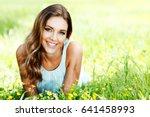 beautiful young woman in blue... | Shutterstock . vector #641458993