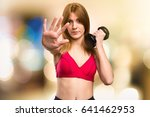 beautiful sport woman with... | Shutterstock . vector #641462953