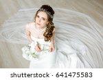 brunette bride in fashion white ... | Shutterstock . vector #641475583