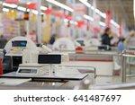 rows of cash desks with digital ... | Shutterstock . vector #641487697