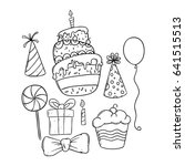 doodle birthday elements with... | Shutterstock .eps vector #641515513