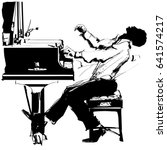 jazz pianist in black and white ... | Shutterstock .eps vector #641574217
