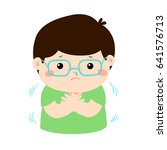 little boy with a cold... | Shutterstock .eps vector #641576713