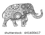 indian elephant coloring pages... | Shutterstock . vector #641600617