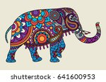 indian ornate elephant hand... | Shutterstock . vector #641600953
