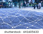 walking crowd and mesh... | Shutterstock . vector #641605633