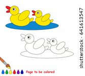 two yellow ducks to be colored  ... | Shutterstock .eps vector #641613547
