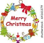 christmas wreath frame | Shutterstock .eps vector #64161379