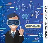 business man using virtual... | Shutterstock .eps vector #641625127